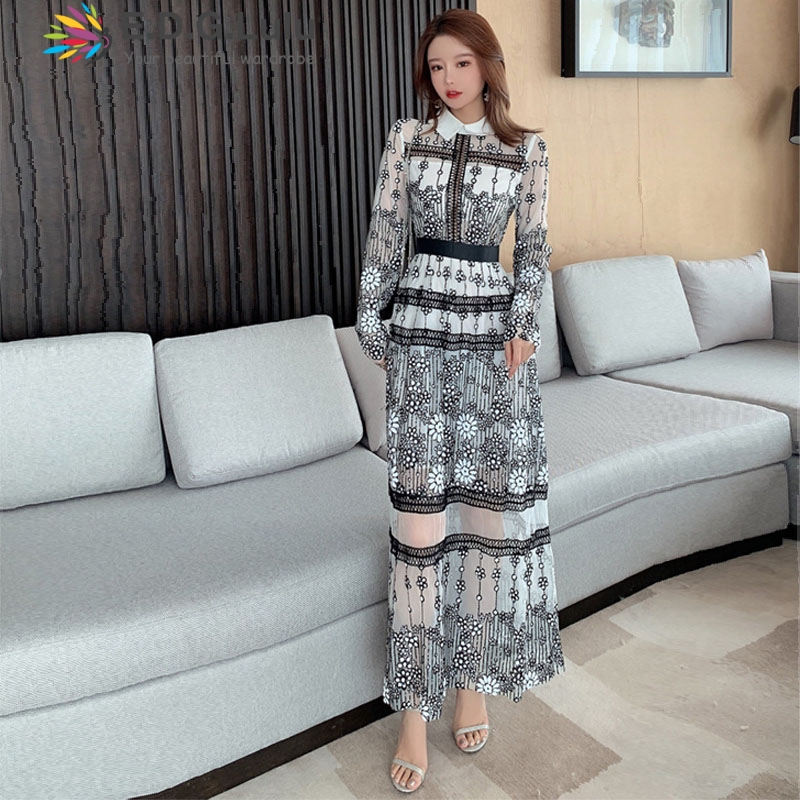 EDGLuLu high quality long <font><b>dress</b></font> vintage chic party elegant print long sleeve <font><b>dress</b></font> fashion fall women clothes 2019 image