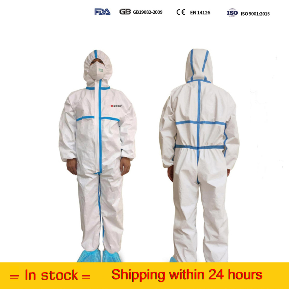 DHL FDA CE Safety Waterproof Hospital Medical Surgical Disposable Coverall Protective  Medical Clothing