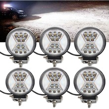 6pc Led Work Light 12V 24V 132W 4inch Round Led 4x4 Driving Fog Lamp Boat Truck Motorcycle Car Daytime Running Lights Actual 40W(China)