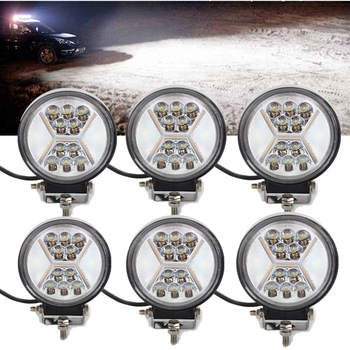 6pc Led Work Light 12V 24V 132W 4inch Round Led 4x4 Driving Fog Lamp Boat Truck Motorcycle Car Daytime Running Lights Actual 40W