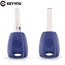 KEYYOU 40x Car Key Shell Case For Fiat 500 Ducato Bravo Transponder SIP22/GT15R Uncut Blade Key Blue Blank Case Replacement(China)