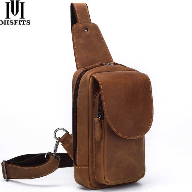 MISFITS crazy horse leather men chest bags fashion crossbody bag with zip pocket high quality cowhide travel messenger bags male