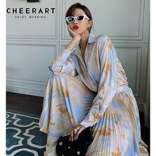 CHEERART – jupe plissée mi-longue, bleu, taille haute, mode coréenne, automne 2020