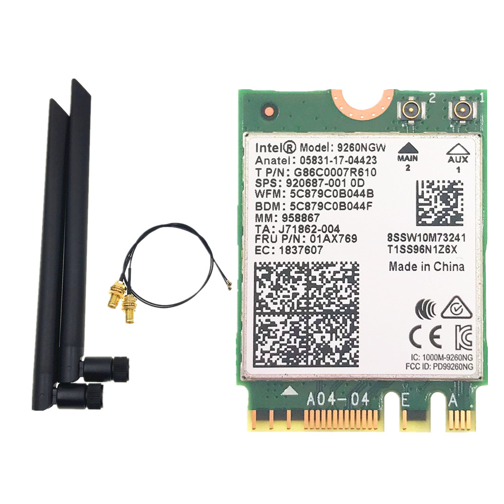 Dual Band Intel 9260 9260NGW 802.11ac 1730Mbps WiFi + Bluetooth 5.0+ 6dbi M.2 IPEX MHF4 U.fl RP-SMA Wifi Antenna Set(China)