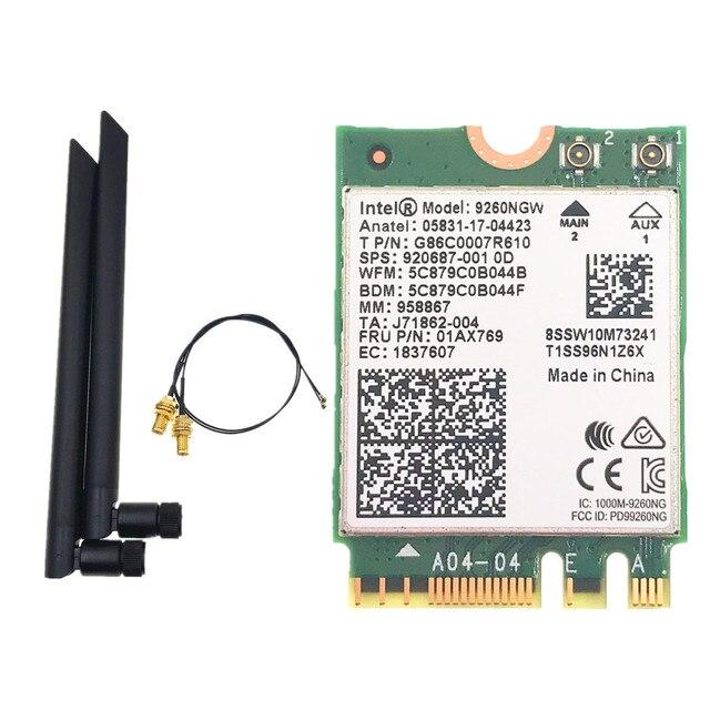 Dual Band Intel 9260 9260NGW 802.11ac 1730Mbps WiFi + Bluetooth 5.0+ 6dbi M.2 IPEX MHF4 U.fl RP SMA Wifi Antenna Set