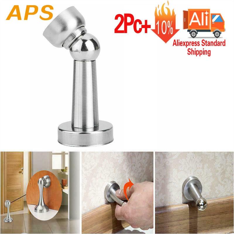 1pcs Door Stopper+1pcs Screw Thick Stainless Steel Strong Magnetic Door Catch Stop Stopper Rustproof