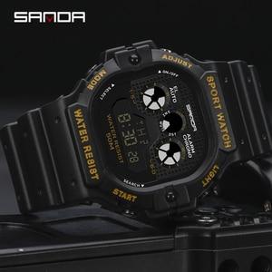 Image 2 - SANDA חדש רב תכליתי ספורט שעון גברים של שעון תלמיד עסקי LED הדיגיטלי עמיד למים כיכר אלקטרוני שעון Montre homme