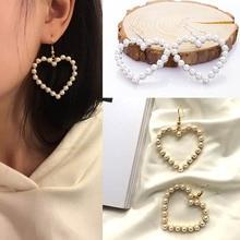 Fashion Jewelry Lovely Pearl Heart Drop Earrings For Women Hollow Silver Gold Hanging Earring