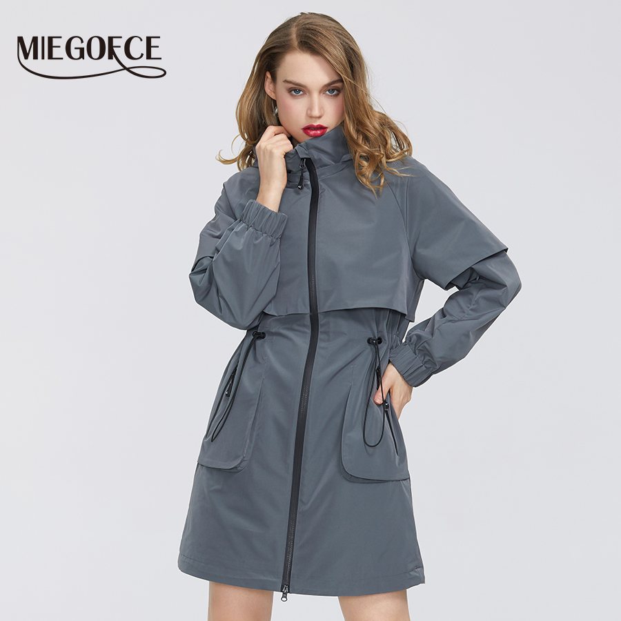 MIEGOFCE 2020 High-quality Autumn Spring Women Coat Windproof Windbreaker New Fashion Medium-length Loose Sport Classic Model
