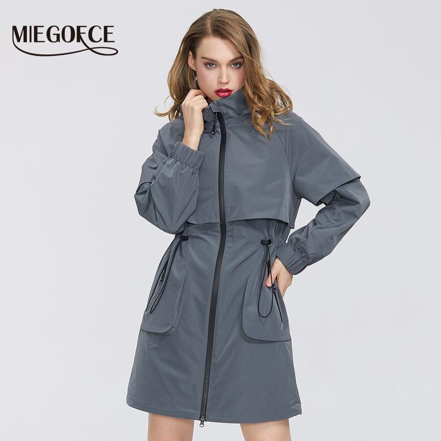 MIEGOFCE 2020 Spring Women Coat Windproof Windbreaker New Fashion Medium-length Loose Sport Classic Model Fitted Zipper Pockets