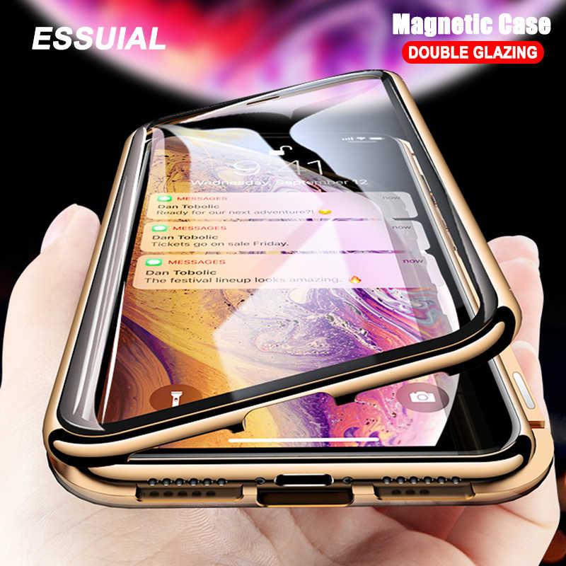 معدن الامتزاز المغناطيسي حقيبة لهاتف أي فون 11 برو XS ماكس X XR حافظة مزدوجة من الزجاج المغناطيس حقيبة لهاتف أي فون 7 8 6 6s Plus