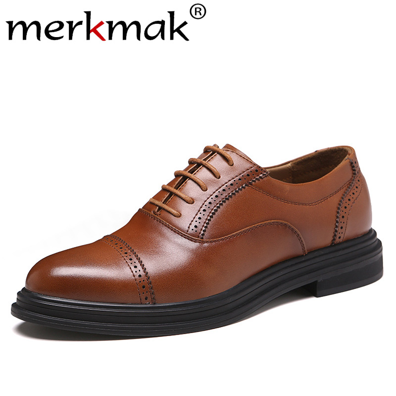 Merkmak Genuine Leather Men Shoes Fashion Lace-up Oxford Shoes New Dress Footwear Business Office Shoes Big Size Party Footwear