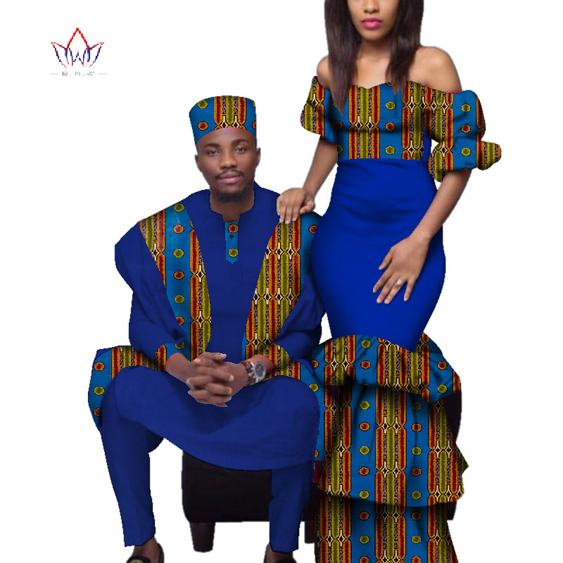 African Couple Clothes African Dresses For Women Bazin Riche Long Dresses African Men Print Gown Top And Pants WYQ221