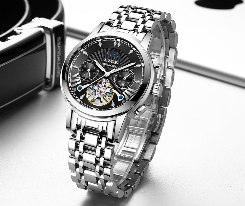 He1f82ade168a41afa3c1104bfb13f7f7k LIGE Official Store Mens Watches Top Brand Luxury Automatic Mechanical Business Clock Gold Watch Men Reloj Mecanico de Hombres