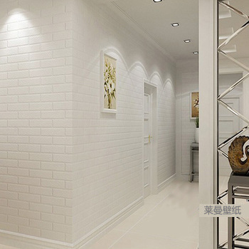 Manufacturers Direct Selling White Stereo Bump Foaming Brick Pattern Wallpaper Clothing Store Studio Bricks PVC Engineering Wall