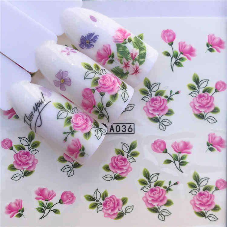 Wuf 1 Lakens 2020 Diy Designer Water Transfer Tips Nail Art Roze Roos Bloem Sticker Decals Vrouwen Beauty Bruiloft Nagels