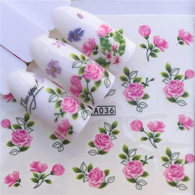 WUF 1 Sheets 2020 DIY Designer Water Transfer Tips Nail Art Pink Rose Flower Sticker Decals Women Beauty Wedding Nails