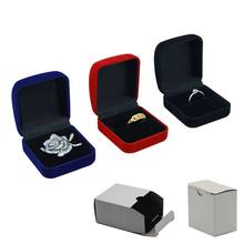 Wholesale Engagement Ring Box Black Velvet Stud Earring Storage Packing Foldable Box Wedding Ring Valentine's Day Gift Organizer