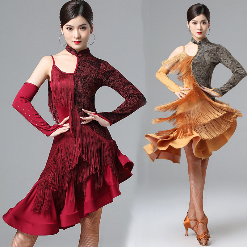 Sexy One Sleeve Latin Dance Dress Women Fringe Dress Dance Clothes Competition Costume Party Wear Rumba Dress Latin Dresses 1343