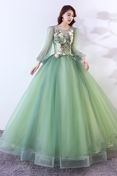 100%real vintage bean green long sleeve ball gown long dress vintage medieval dress Renaissance princess Victoria dress