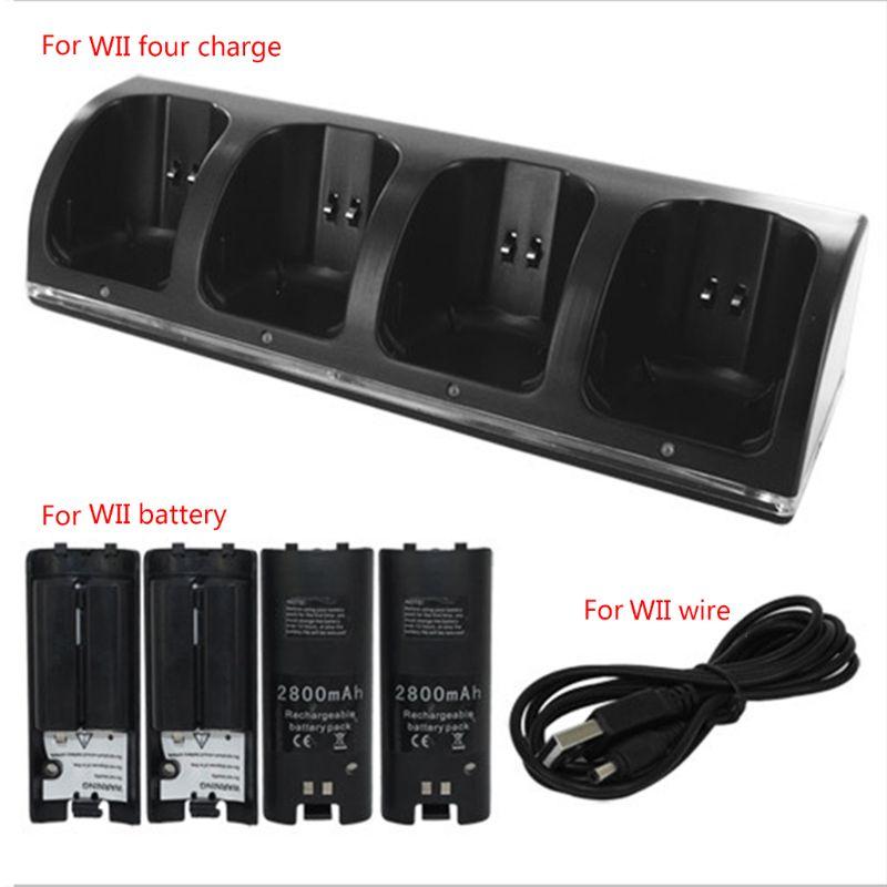 4 порта интеллектуальное зарядное устройство зарядная док-станция аккумуляторные батареи для игровой консоли WII Оптовая Продажа Прямая пос...