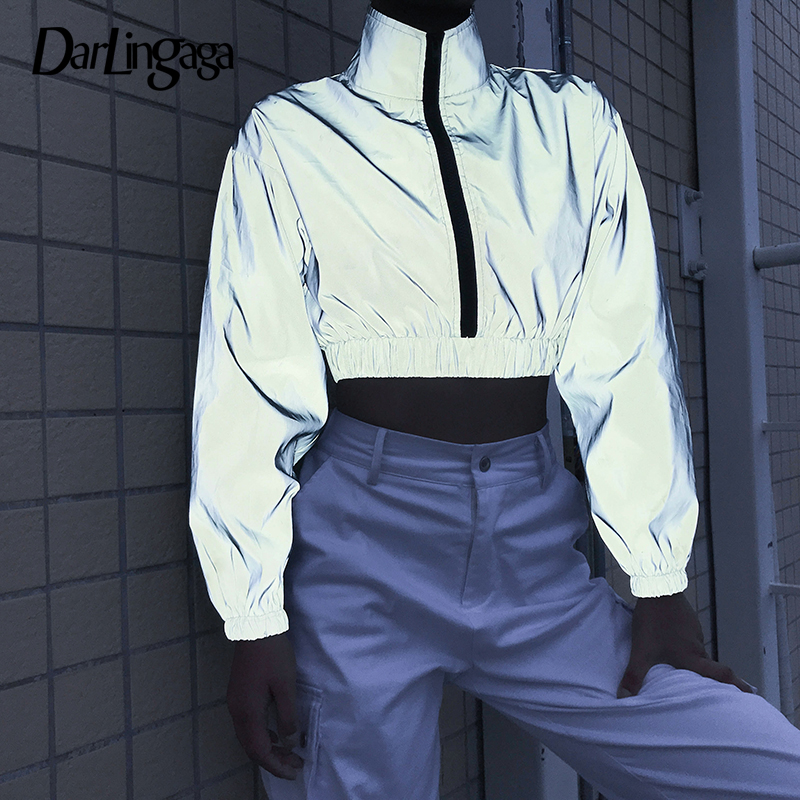 Darlingaga Streetwear Turtleneck Reflective Sweatshirt Women Pullover Holographic Zipper Autumn Sweatshirts Hoodies Crop Top New