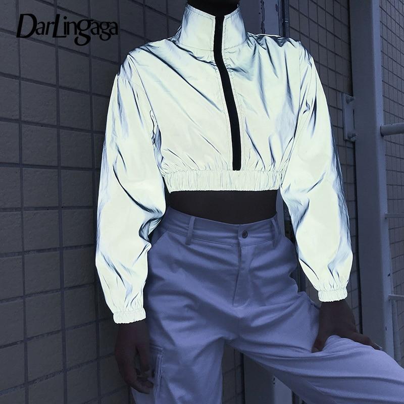 Darlingaga Streetwear Turtleneck Reflective Sweatshirt Women Pullover Holographic Zipper Autumn Sweatshirts Hoodies Crop Top New