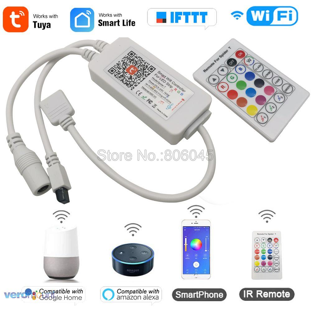 Tuya vida inteligente RGB tira de LED controlador WiFi teléfono inteligente aplicación de Control araña T IR Control remoto Alexa Control por voz de Google 5-24V