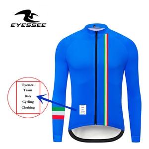 Image 2 - Italië Wielertrui Eyessee Mannen Fit Lichtgewicht Lange Mouw Wielershirts 5 Kleuren Racefiets Mtb Race Fiets Kleding