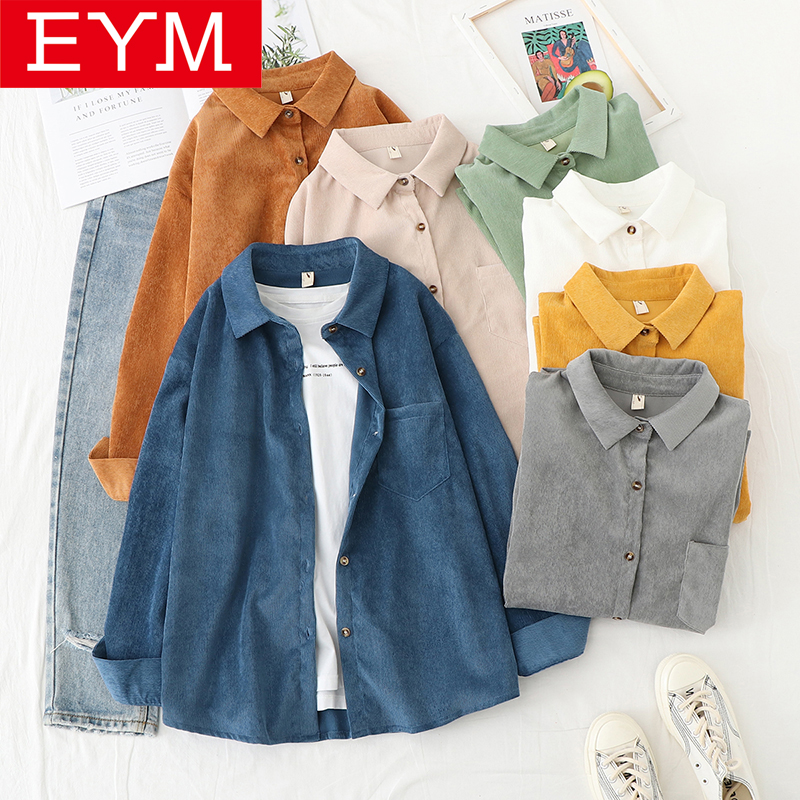 Corduroy Shirt Women 2020 Spring New Casual Lady Long Sleeve Blouse Solid Color Loose Blouses Female Elegant High Quality Tops(China)