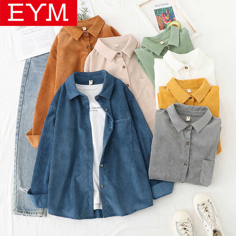 Corduroy Shirt Women 2020 Spring New Casual Lady Long Sleeve Blouse Solid Color Loose Blouses Female Elegant High Quality Tops