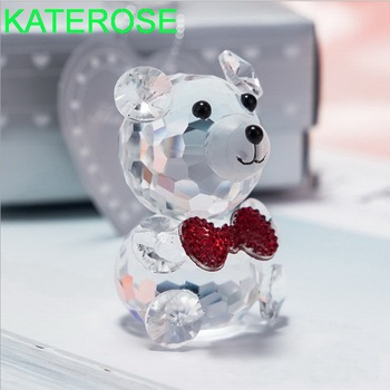 12PCS Baby Shower Favors Clear Crystal Bear Figurines with Red Bowknot Newborn Christening Party Giveaways For Guest