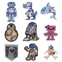 Astronauta robô planeta emblema remendos para roupas diy listras apliques roupas adesivo de ferro em tecido de pano bordado criativo