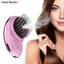 Portable Electric Ionic Hairbrush Nano Spray Negative Ion Comb Hair Scalp Massager Brush Straightener Anti-static Styling