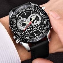 купить Top Brand Chronograph Watch Business Analog Digital Leather Sport Watch Men Waterproof Quartz Clock Wristwatch Erkek Kol Saati дешево