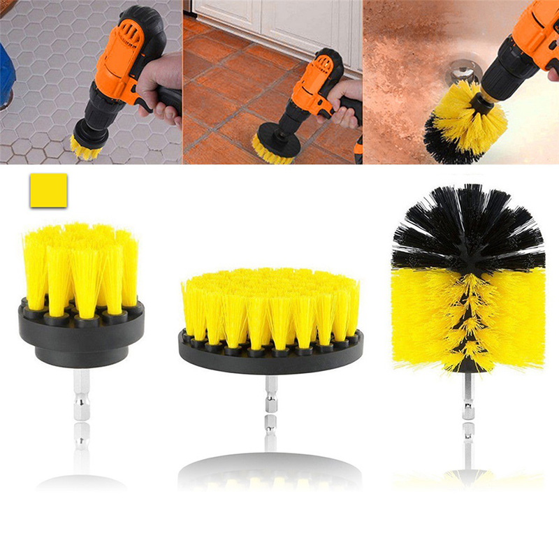 3pcs Drill Clean Brush Kit Drill Power Scrub For Leather Plastic Wooden Furniture Car Interior Cleaning Power Scrub 2/3.5/4 Inch