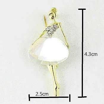Fashion Trendi Wanita Perhiasan Putih Coklat Pesta Menawan Gambar Penari Balet Gadis Kristal Logam Paduan Bros Pin