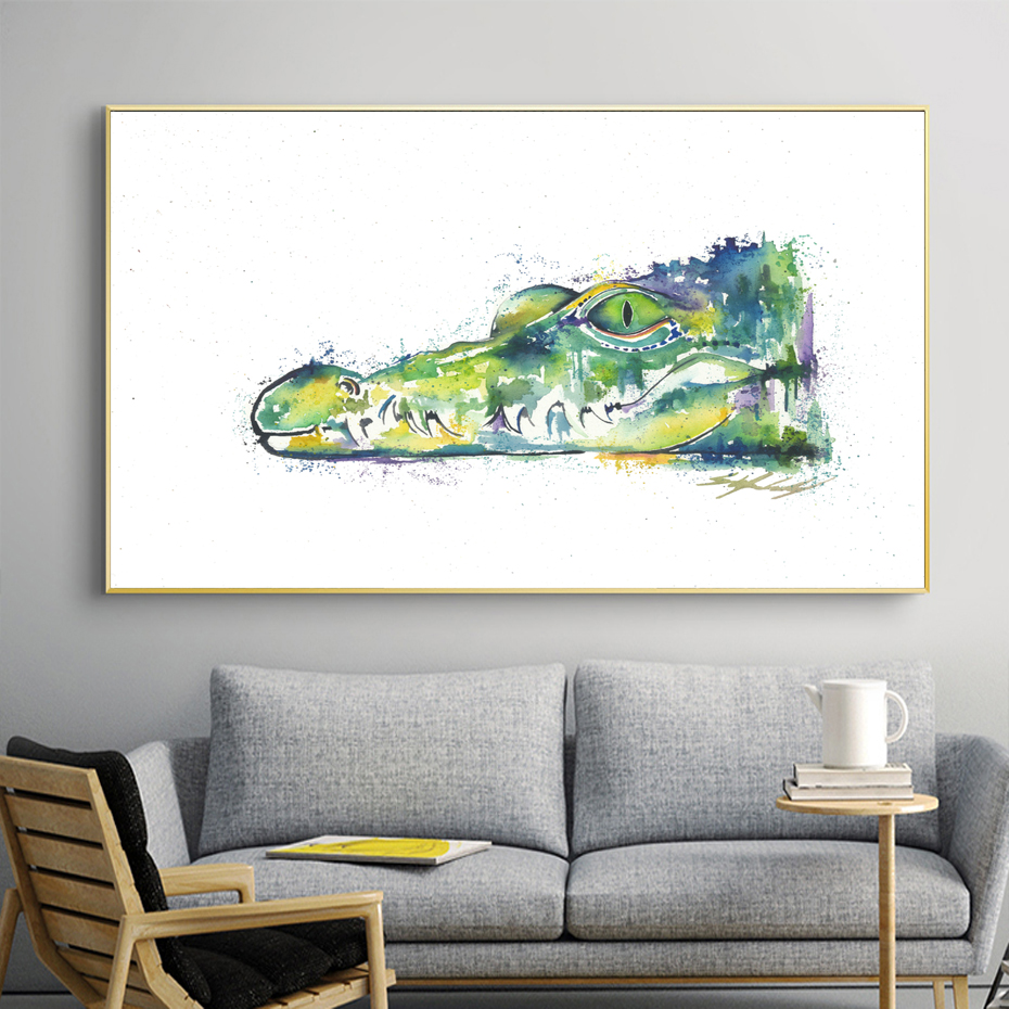 Alligator Mouse Mat Art Print Watercolor Crocodilians Art Illustration on Mouse Pad Colorful Small Crocodile Art For The Office