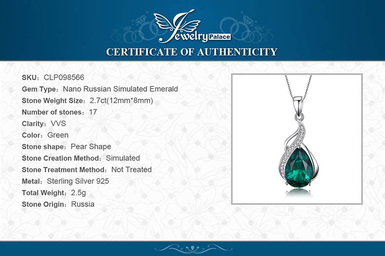 He1f8f4f3db4c413aac6681ac74335f57R Jpalace Simulated Nano Emerald Pendant Necklace 925 Sterling Silver Gemstones Choker Statement Necklace Women Without Chain