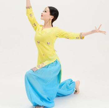 القطن الهند التطريز البنجابية امرأة تقليدية لينها ساري اليوغا زي قطعتين الأعلى السراويل 1
