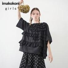 Черная Кружевная футболка imakokoni с коротким рукавом оригинальный