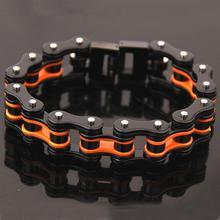 Punk Bicycle Bike Bracelets & Bangles Motorcycle Chain Men's Black Bracelet Men Stainless Steel Biker Men Jewelry 21mm недорого