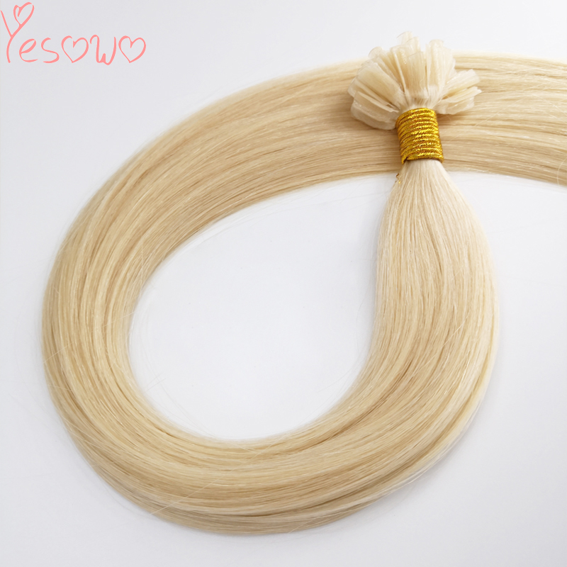 Yesowo 12-26inch 1.0g/piece U Nail Tip Real Peruvian Straight Remy Pre Bonded Hair 613 Blonde U Tip Hair Extensions Human