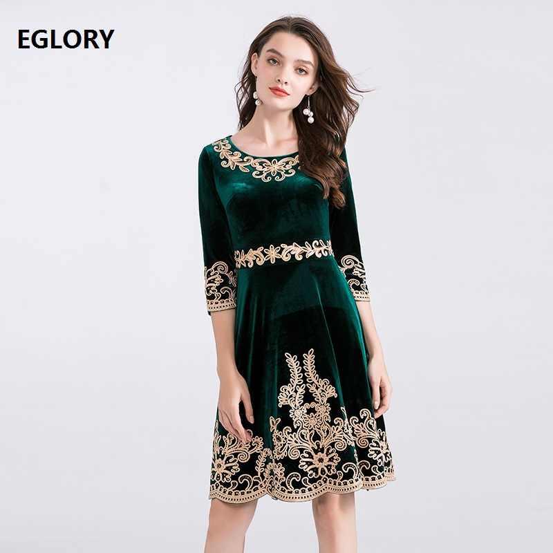 Платье размера XXXXL Vestidos De Festa 2019 осень зима вечерние мероприятия для женщин люкс Золотая вышивка 3/4 рукав винно-красный, зеленый бархат платье
