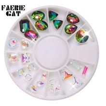 1 колесо украшения для ногтей прозрачные стразы особой формы