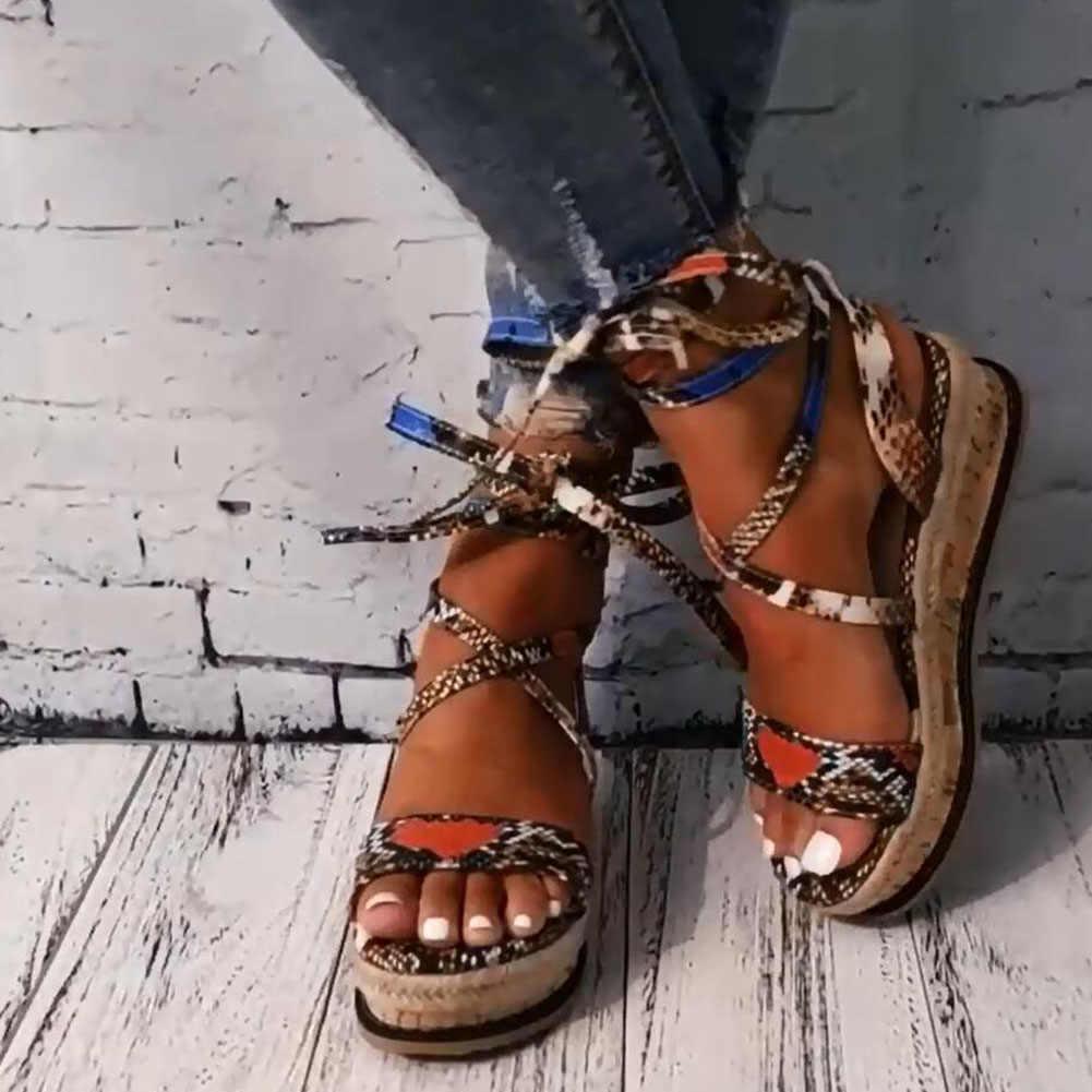 Wenyujh Phụ Nữ Mùa Hè Loài Rắn Giày Sandal Nền Tảng Giày Cao Gót Dây Đeo Chéo Cổ Chân Ren Peep Toe 2020 Bãi Biển Đảng Nữ Zapatos De mujer