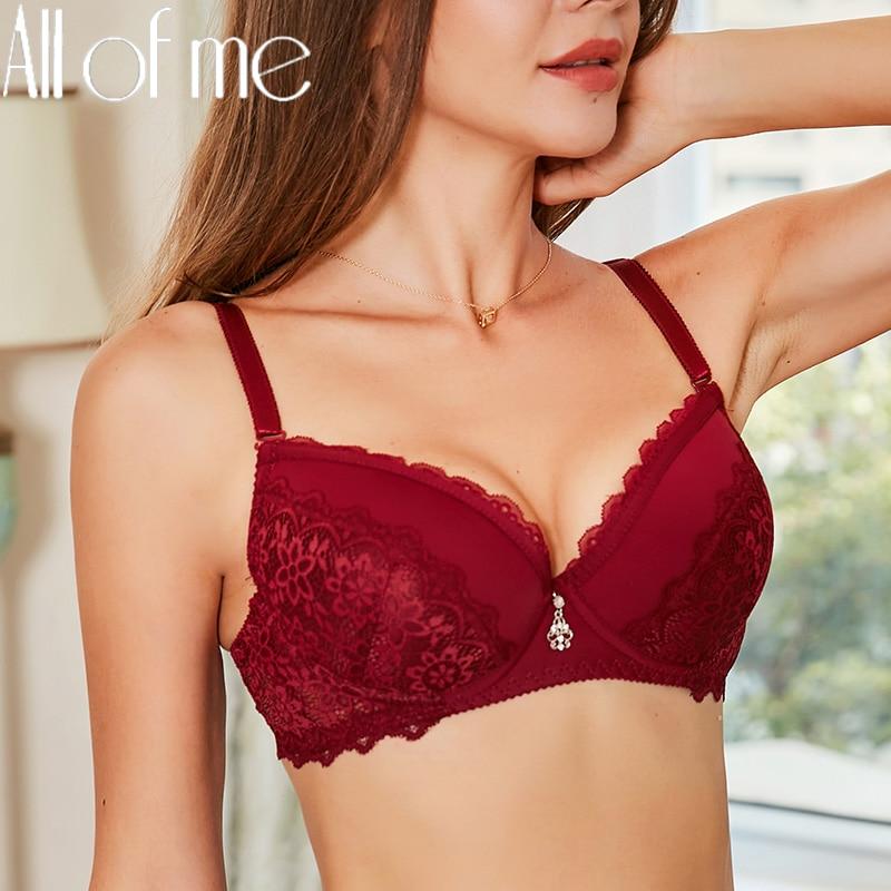 Seksi dantel sutyen kadın iç çamaşırı Push Up sütyen kadın sütyen çiçek 4 düz renk balenli Bralette Intimates iç çamaşırı B/C fincan