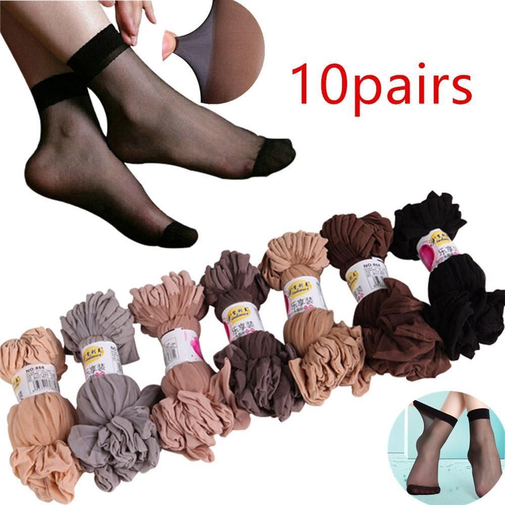 10Pair Wholesale Women Socks Elastic Ultra-thin Transparent Short Socks Crystal Socks High Elastic Skin Color Nylon Short Socks