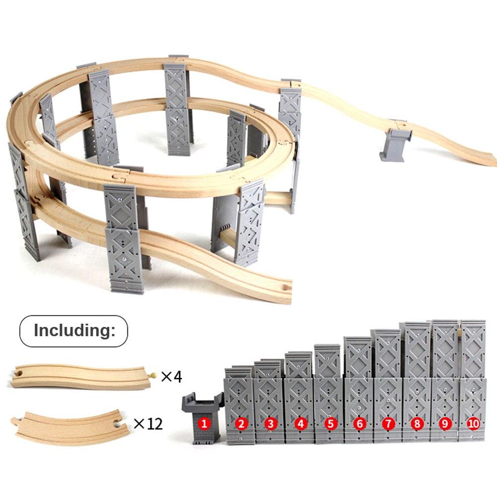 Пластиковые спиральные дорожки 26 шт., аксессуары для деревянных строительных дорожек с мостовыми приставками, совместимы с Thomas Biro, детские ...