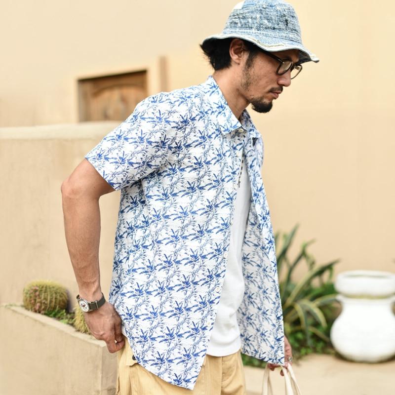 SauceZhan Men Shirt Aloha Shirt Casual Seersucker Shirt Japanese Seersucker Fabric Summer Light and Breathability Slim Fit
